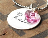 Necklace with Childrens Names Hand Stamped Personalized Mothers Necklace Birthstone Heart Crystal by Mikono on Etsy