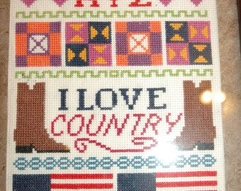 SALE!  Country Cross Stitch Picture-Framed-SALE!!