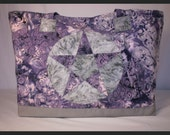 pentagram quilted tote- grey and purple