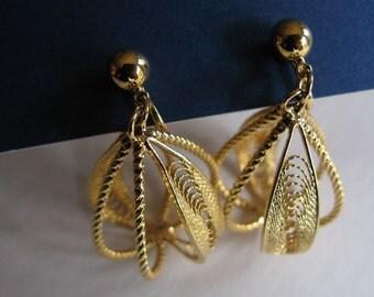 Vintage Trifari  Bird Cage Earrings