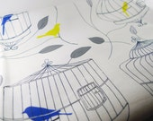 Bird and Yellow Birds and Cages Linen-Cotton Canvas Fabric