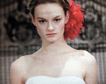 Red Flower Head Piece, Wedding hair accessory, Red bridal statement piece - Fantasia