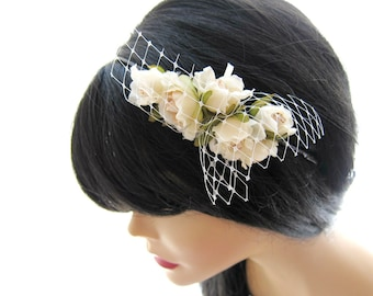 sweet ivory roses  bridal headband