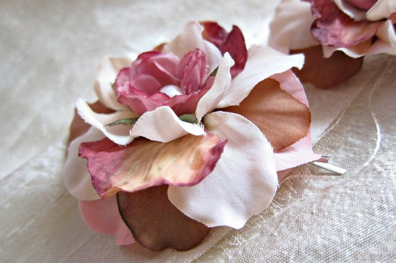Flower Bobby Pins Ivory Pink Brown Pastel Colors - First Kiss - set of two