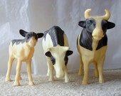 Toy Bull Mother Cow Calf 1960s Nylint Hard Plastic