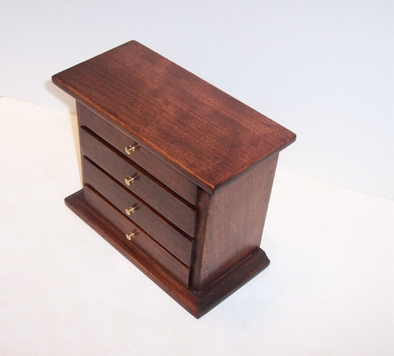4 Drawer Dark Cherry Jewelry Box