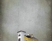 Yellow House - Grey Green Yellow White Landscape Original Fine Art Photograph - FREE SHIPPING