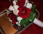 White Cream Tulip and Red Rose Wedding Bouquet perfect for Holiday, Christmas, Winter, Valentines Spring Wedding