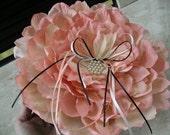 Garden Wedding Ring Beaer Pillow of Composite Oversized Pink Peony Rose Flower Petals, Spring Wedding, Summer Wedding