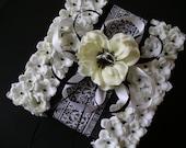 Black & White Artifiical Anemone Ring Bearer Pillow Damask Hollywood Glam