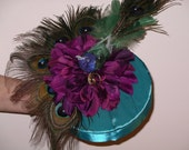 Peacock Wedding Ring Bearer Pillow Presentation with Peacock, Peacock feathers in Teal with Silk Purple