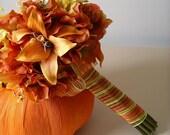 13pc Orange Tiger Lily  Hydrangea Wedding Set for Late Summer Fall Autumn Wedding