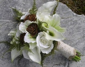Woodland Real Touch silk Calla Lily & Rose Hand Tied Wedding Bouquet with Burlap and Lace Rustic, Enchanted Forest, or Winter Wedding