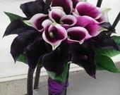 Premium Sangria Picsso and Deep Lapis Purple Calla Lily Grand Wedding BOUQUET & BOUTONNIERE Set  for an Upscale, Black Tie Formal Wedding