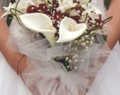 Premium Silk Calla Lilies, Roses, White Hand Tied Wedding BOUQUET & BOUTONNIERE SET for Classic, Chic, Fairytale, Formal, Wedding