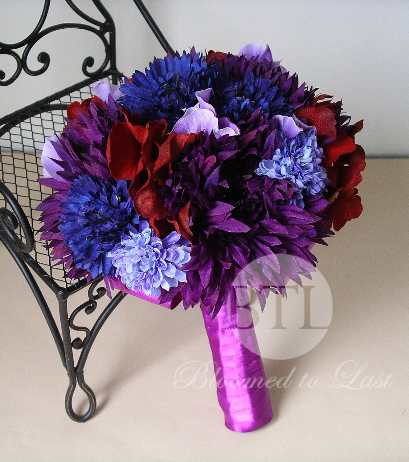 Jewel Tone Wedding Flowers: Purple Blue And Dark Red Jewel Tones Hand Tied By