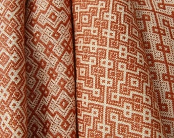 Toffee and Cream Design- Hand Woven Wool/Silk Scarf