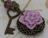 Garden Flower Heart Key and Locket Antiqued Brass Necklace - SALE