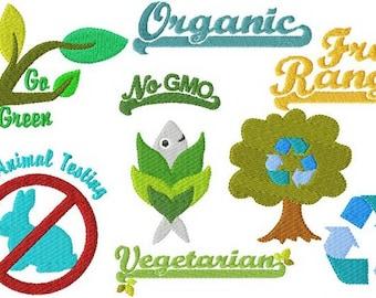 Instant Digital Download 4X4 Earth Friendly Vegetarian Vegan & Organic Symbols Machine Embroidery Designs Recycle Reuse
