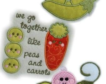 SALE Instant Digital Download 4X4 Set Sweet Pea - Peas & Carrots Applique Machine Embroidery Designs