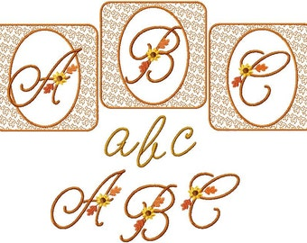 Instant Digital Download 4x4 Fall Script Alphabet Autumn Font Set  Machine Embroidery Designs