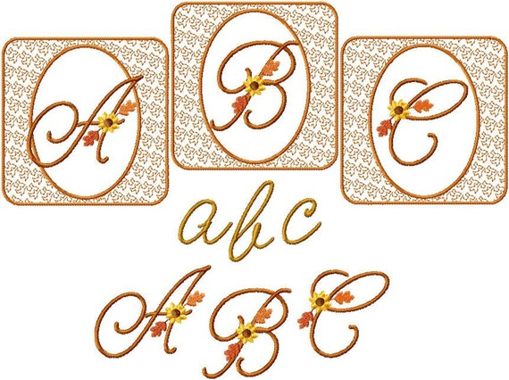 Instant Digital Download 4x4 Fall Script Alphabet Autumn Font Set  Machine Embroidery Designs