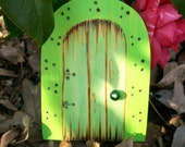Magic Fairy Door 4 inches Rounded Top Magical Portal Green