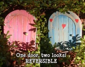 REVERSIBLE Fairy, Faerie, Elf, Wee Folk Magical Door..4 5\/8 inches x 5 3\/4 inches..Hearts and Flowers