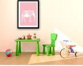 Damask Elephant  in pink -  Kids Art Prints, elephant nursery,  baby nursery decor, nursery decorating ideas,, baby girl nursery