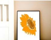 Orange Sunflower - fine art print, summer flower, flower art , sunflower art, Mothers Day