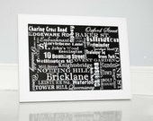Typography of London Street Names in Black and White fine art print black and white city street names London