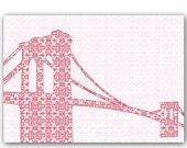 Brooklyn bridge with retro damask design - Fine art print, red, damask design, silhouette,bridge,newyork, america