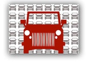Nursery Red Jeep Art Print  - nursery decorating ideas, red color jeep, transport, kids decor