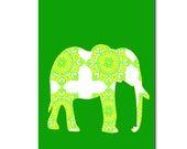 Damask Elephant on lime green  -  Kids Art Prints Nursery wall decor jungle nursery elephant, nursery decorating ideas, green elephant