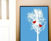 Winter Tree with blue patterned background - red birds pecking,winter tree,blue pattern