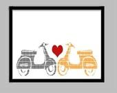 Vespa Scooters in Love - Fine art print, Modern decor scooter, Valentine gift, Wedding gift, Vespa lovers
