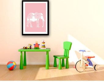 Damask Elephant  in pink -  Kids Art Prints, elephant nursery,  baby nursery decor, nursery decorating ideas,, baby girl nursery