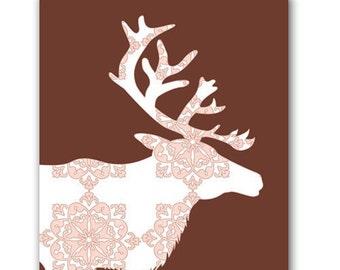 Reindeer Art Print -  Kids Art Prints, silhouette, nursery decorating ideas, damask reindeer, christmas reindeer