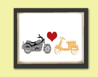 Vespa and motorcycle in Love -  Fine art print, decor,  scooter, bike print, valentines day, wedding gift