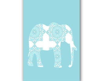 Blue damask Elephant Art  -  Kids Art Prints, nursery print, blue elephant, nursery decorating ideas, nursery elephant