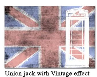 Vintage Union Jack Flag - Fine art print, Great Britian flag, telephone kiosk. UK flag, decor wall art, Mothers Day
