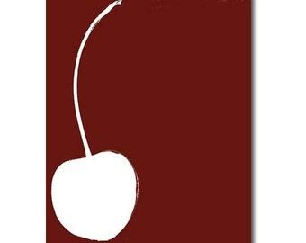 Pick your own cherry - Fine art print,kitchen decor, summer fruit, silhouette