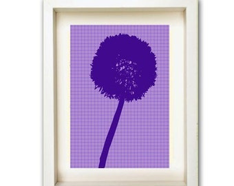Purple Dandelion Print - purple silhouette,dandelion,summer,art,print, Mothers Day