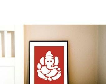 Hindu God Ganesh Fine art print - ganesh silhouette, red color, hindu god, elephant god, worship