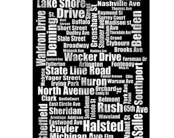 Typography of Chicago Street Names in Black and White, fine art print , street names, Chicago