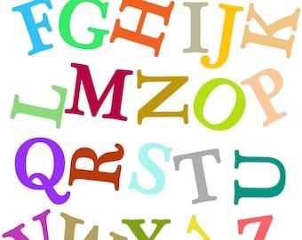JUMBLED Alphabets -  Kids Art Prints, nursery decorating ideas, alphabets, baby nursery, alphabets art