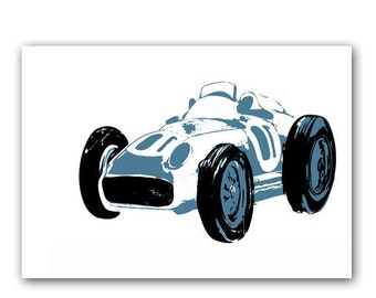 The Racing Blue Car -  Kids Art Prints, nursery decorating ideas, cars, transport, silhouette, nursery decor, baby boy nursery