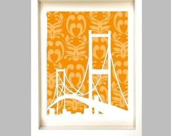 Golden Gate Bridges Silhouette -  orange damask ,bridge silhouette