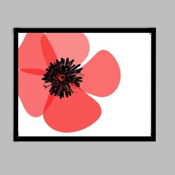 Red Color Poppy Flower-  Fine Art Print, red poppy flower art, red poppy, summer flower