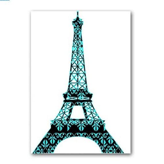Floral Damask Eiffel Tower fine art print Modern decor blue
